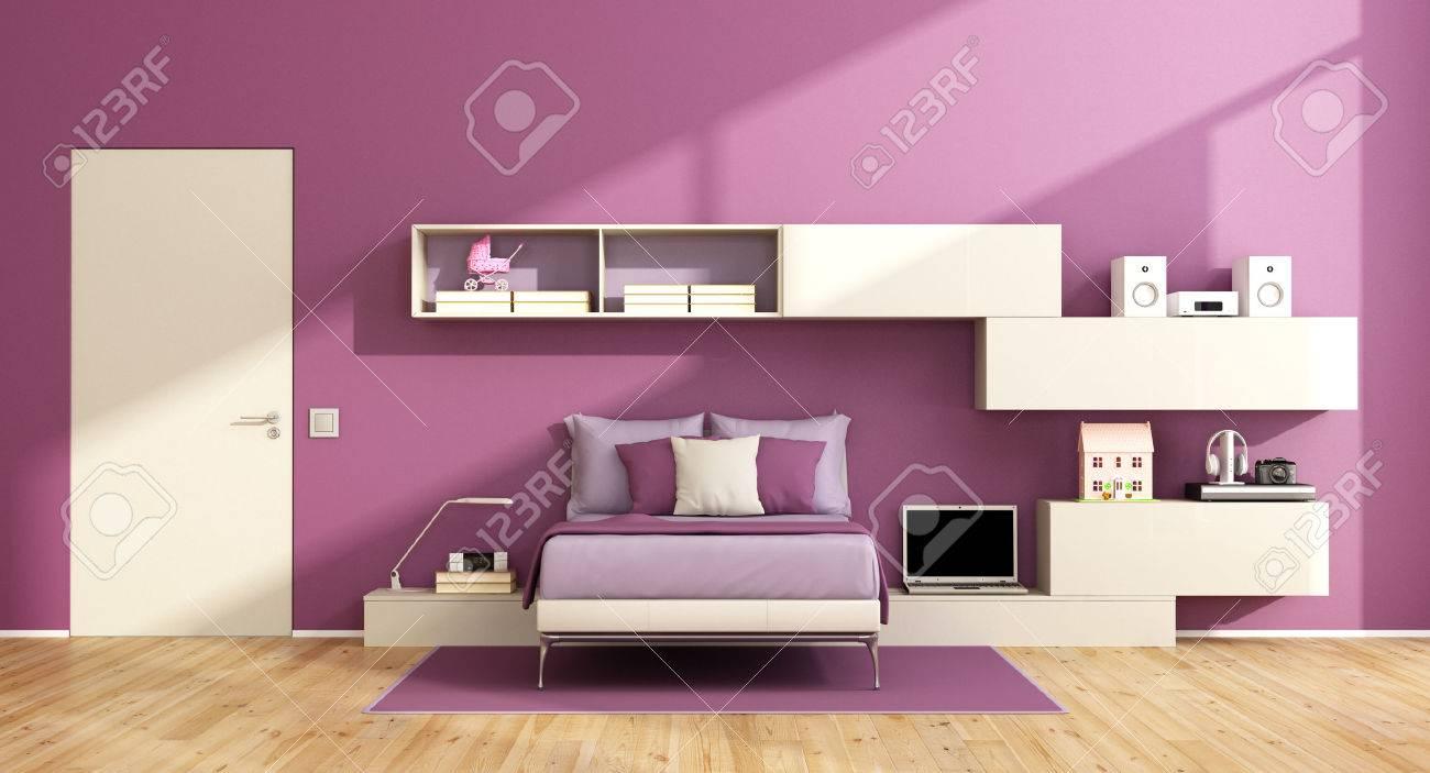 Chambre Pour Ados Avec Unité Murale Sur Mur Violet Et Lit Moderne ...