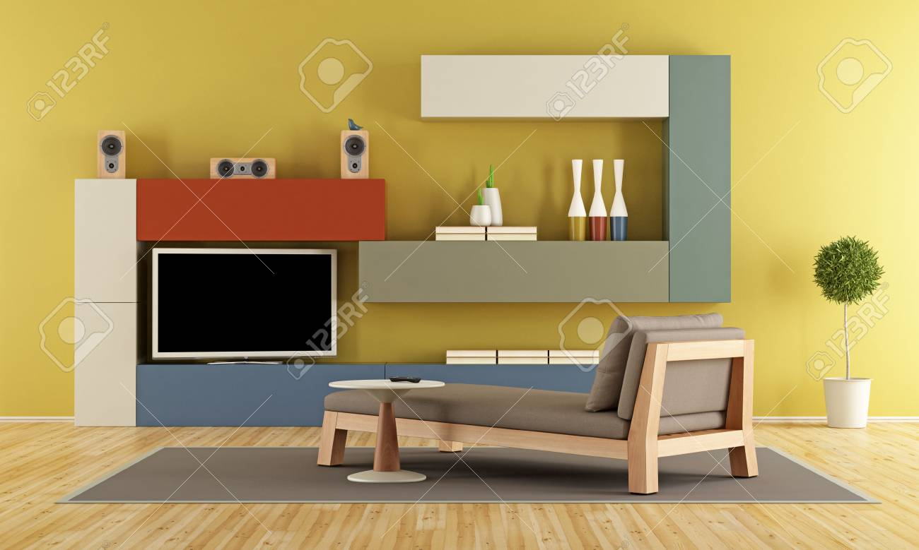 Contemporary Living Room With Colorful Wall Unit With Tv And.. Stock ...