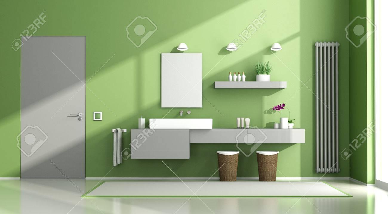Salle de bains contemporaine vert et gris avec lavabo et porte fermée -  rendu 3d