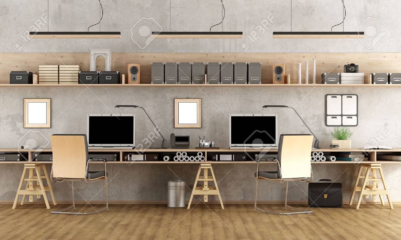 Minimalist architectural office with two workstation - 3d rendering Standard-Bild - 56999215