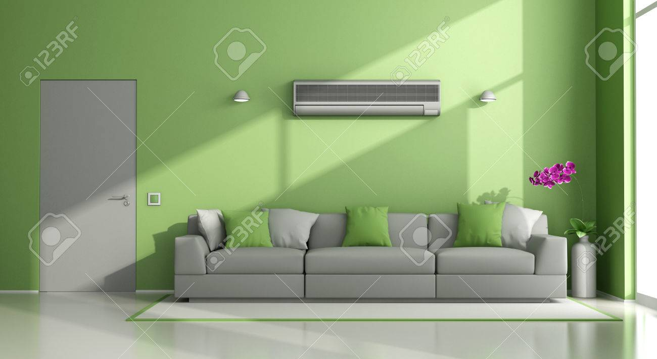Minimalist Living Room With Air Conditioner ,sofa And Closed Door   3d  Rendering Stock Photo