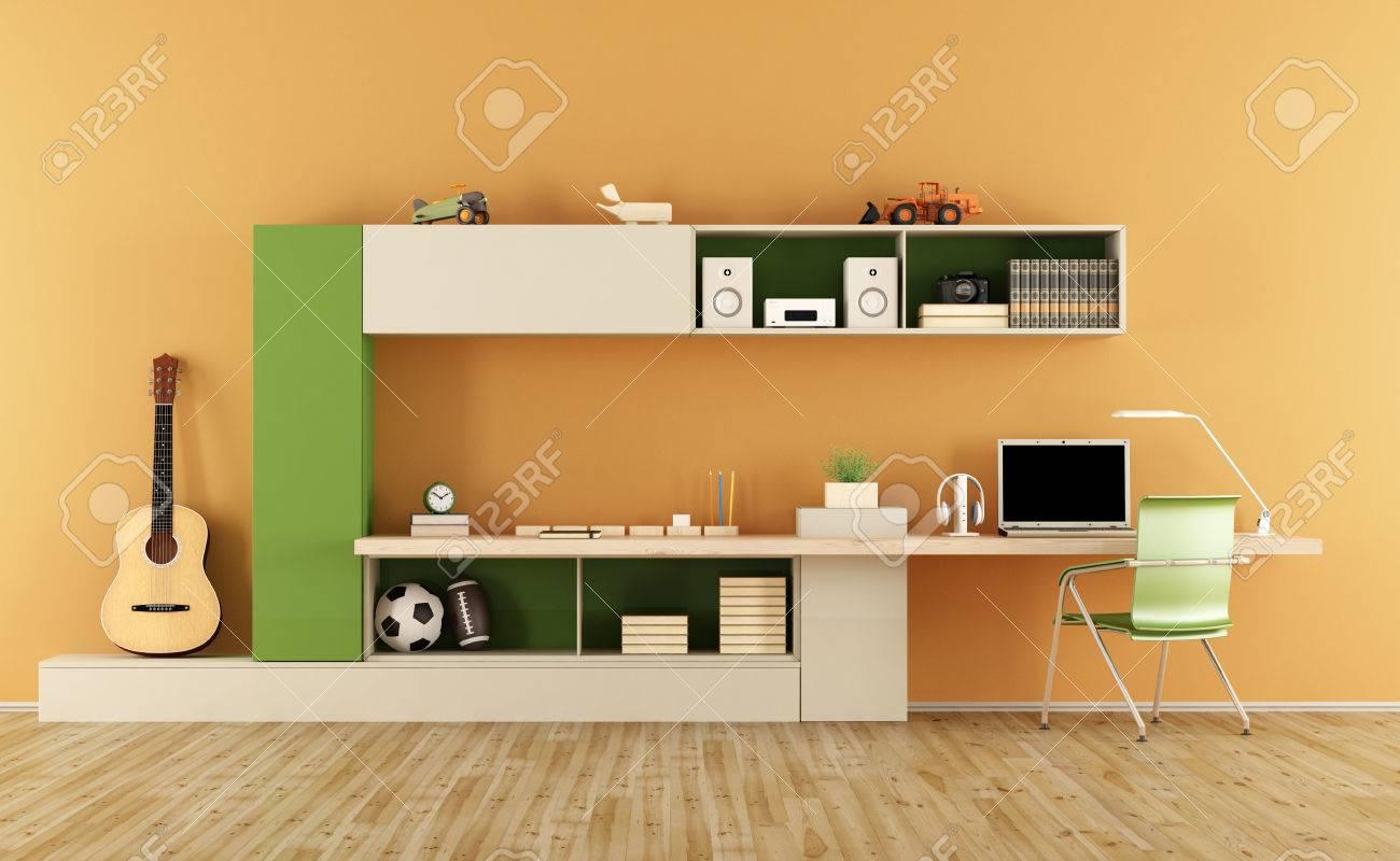 Chambre d adolescent moderne avec bureau ordinateur portable et