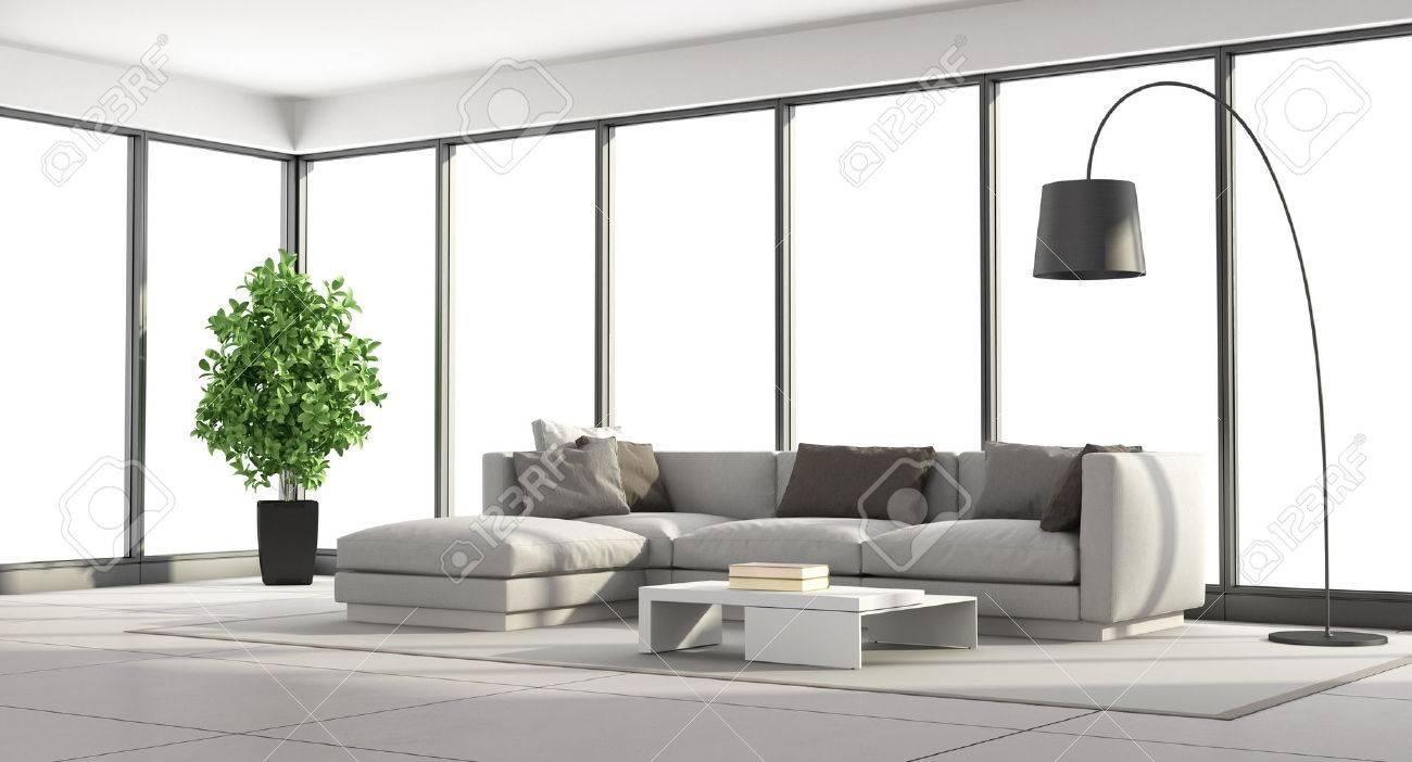 Großartig Sofa Wohnzimmer Foto Von Minimalist Mit Und Große Fenster - 3d-rendering
