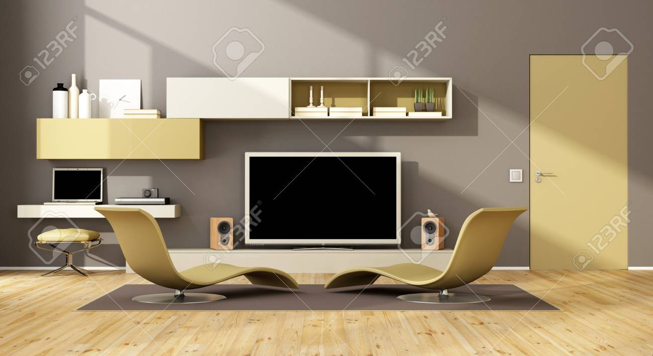 Contemporary living room with two chaise lounge and wall unit