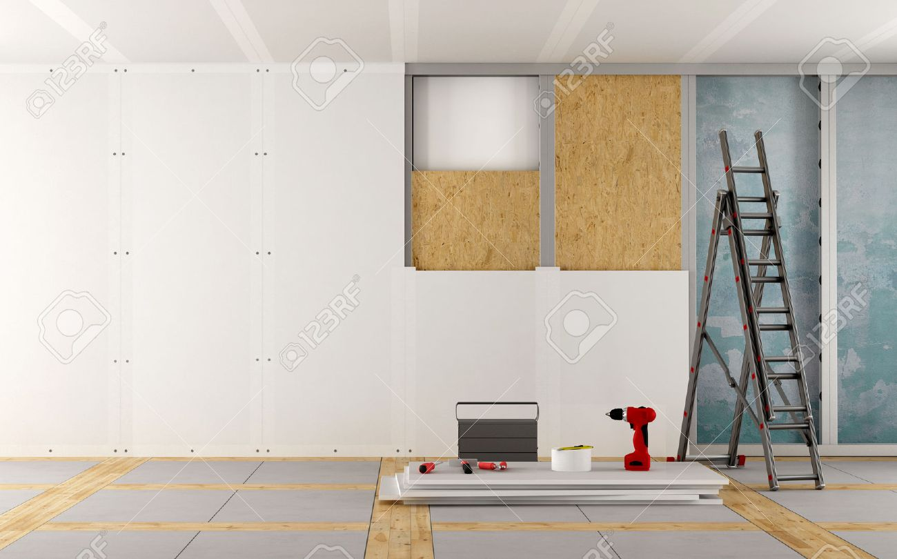 Renovation of an old house with plaster board and wood fiber panels - 3d rendering Standard-Bild - 56899345