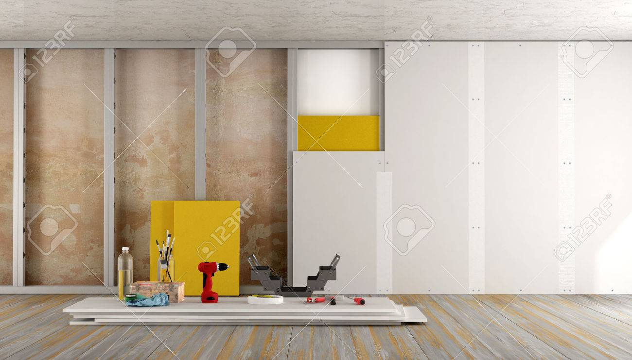 Renovation of an old house with plaster board and insulation material - 3d rendering Standard-Bild - 56899347