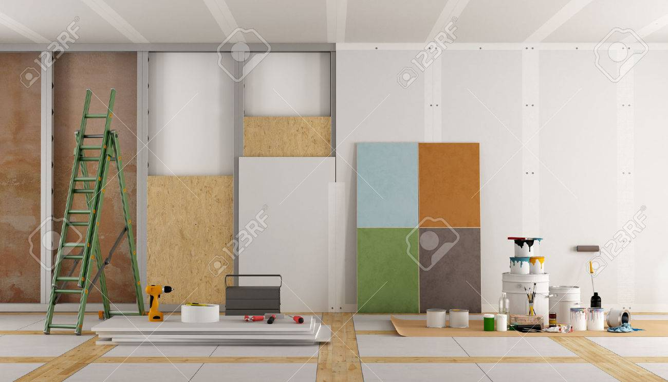 architectural restoration of an old room and selection of the color swatch - 3d rendering Standard-Bild - 56899349