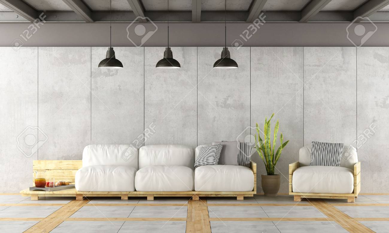 Contemporary Living Room With Pallet Sofa,concrete Wall And Iron Beams   3d  Rendering Stock