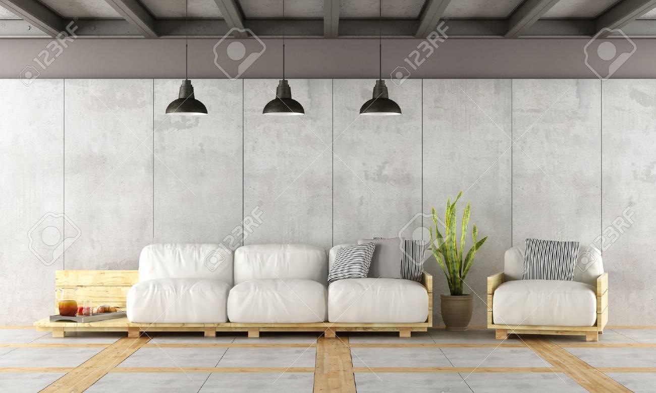 Moderne Wohnzimmer Mit Paletten Sofa, Betonwand Und Eisenträger    3D Rendering Standard Bild