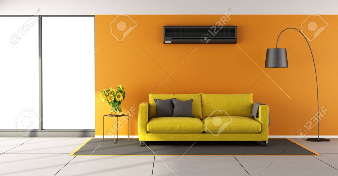 Banque Du0027images   Salon Du0027Orange Chambre Avec Air Conditionné, Canapé Jaune  Et Fenêtre   Rendu 3d