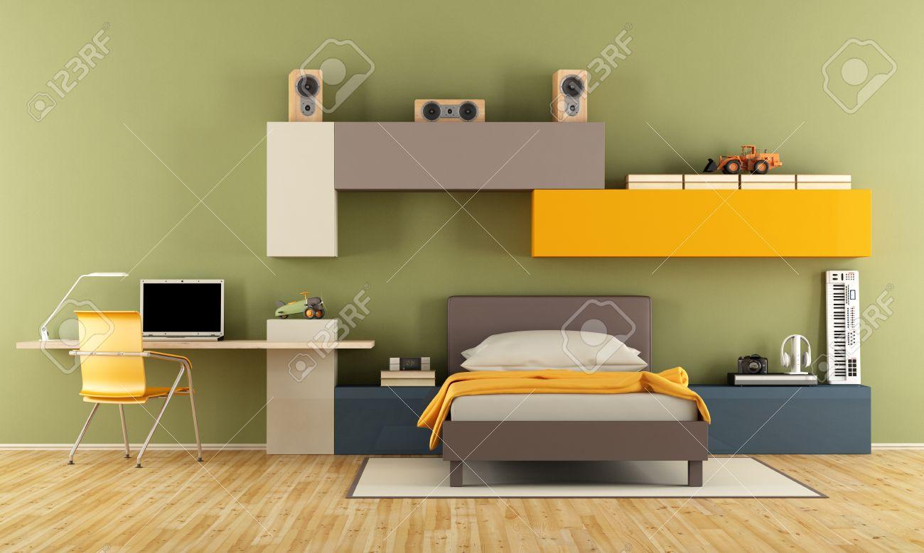 adolescente chambre garçon avec un lit simple, un bureau, un