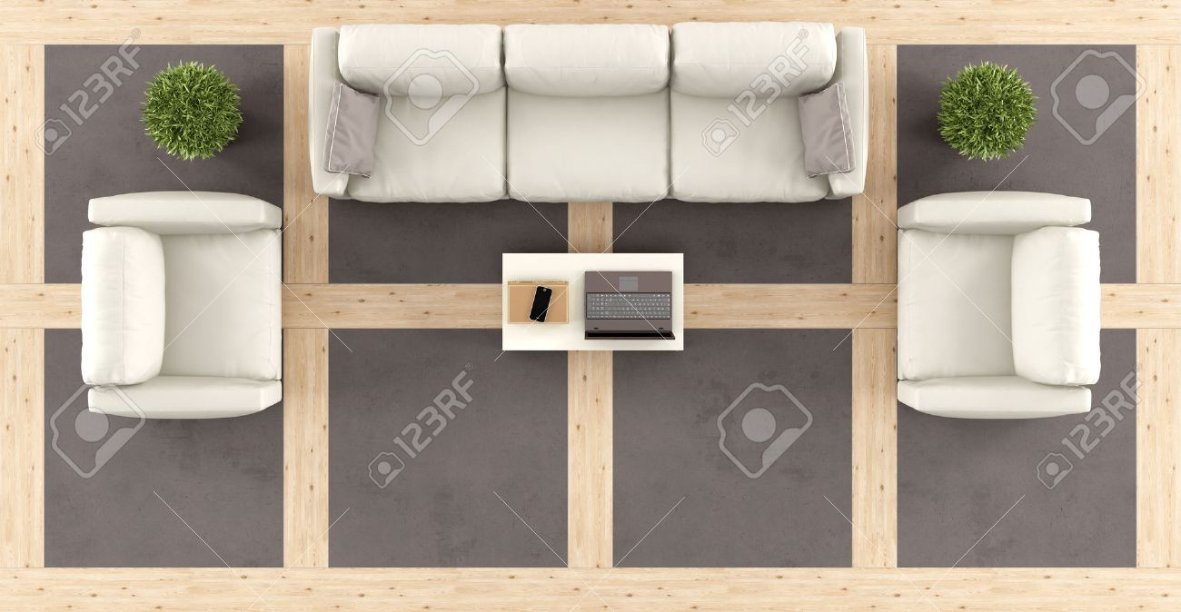 Top View Of A Modern Living Room With Sofa Armchairs And Wooden And  Concrete Floor