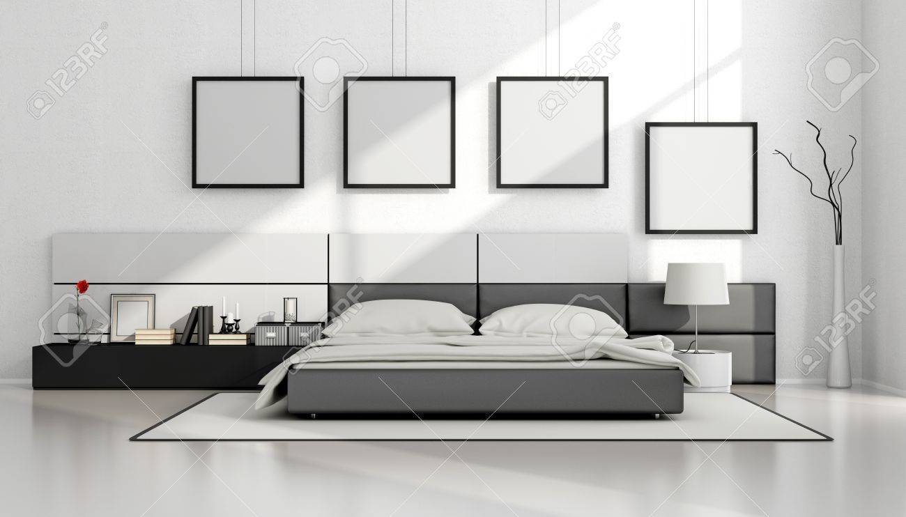 Black And White Minimalist Bedroom With Double Bed And Blank Stock Photo Picture And Royalty Free Image Image 57836265