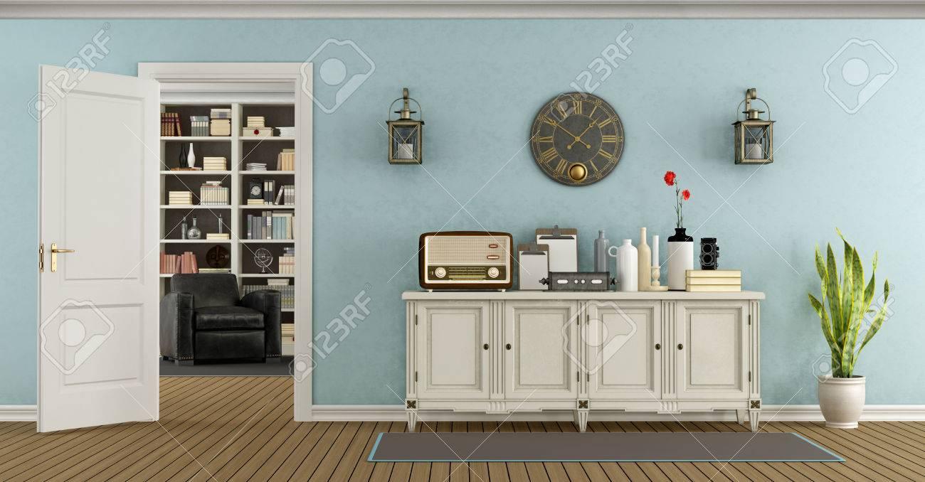 Retro Wohnzimmer Mit Anrichte Und Offener Tür Mit Bücherregal Auf ...