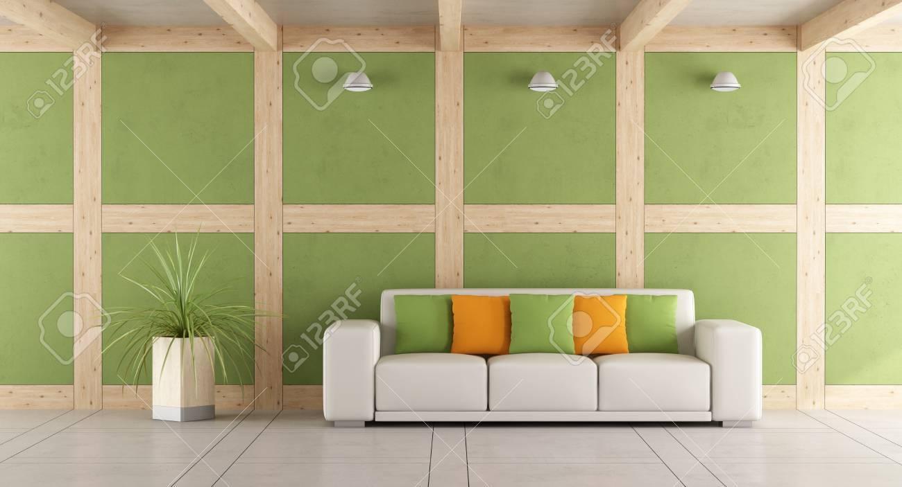 Moderne Wohnzimmer Mit Weißen Sofa Und Wand In Beton Und ...