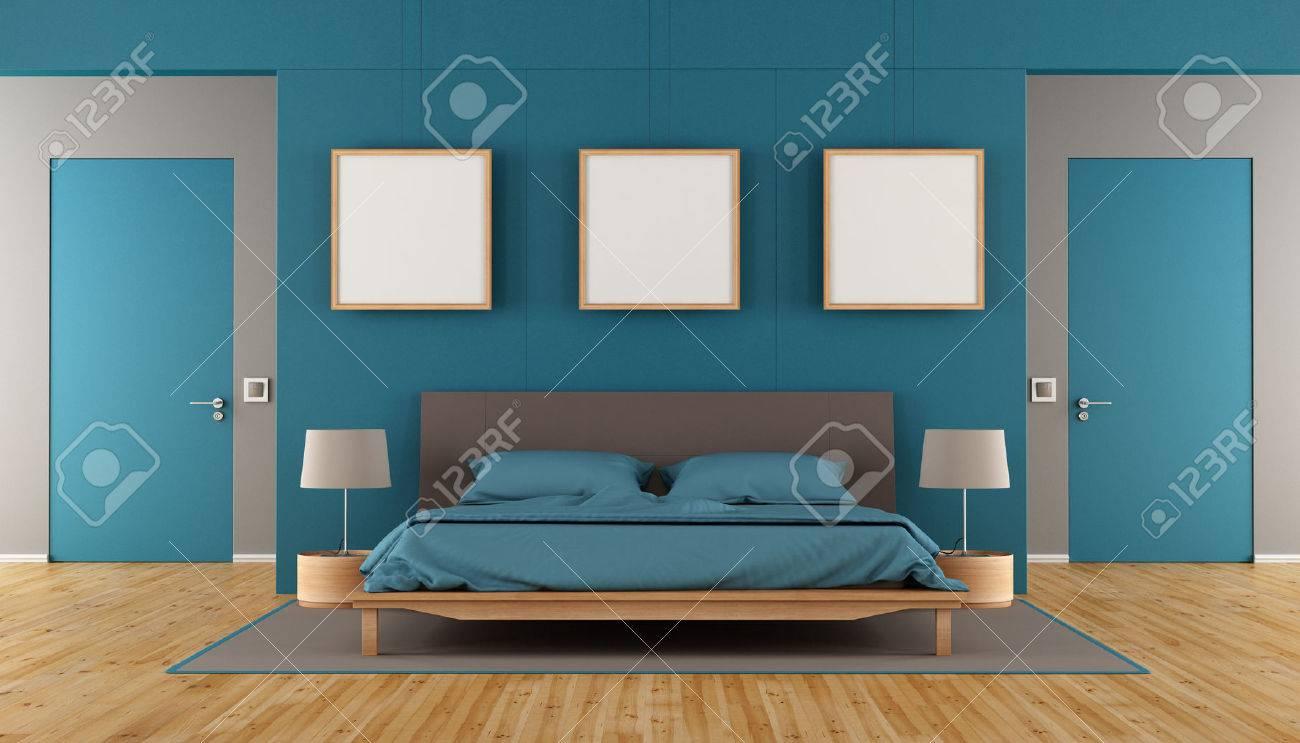 Blau Und Braun Modernes Schlafzimmer Mit Doppelbett, Leere Rahmen Und Zwei  Geschlossene Tür   3D
