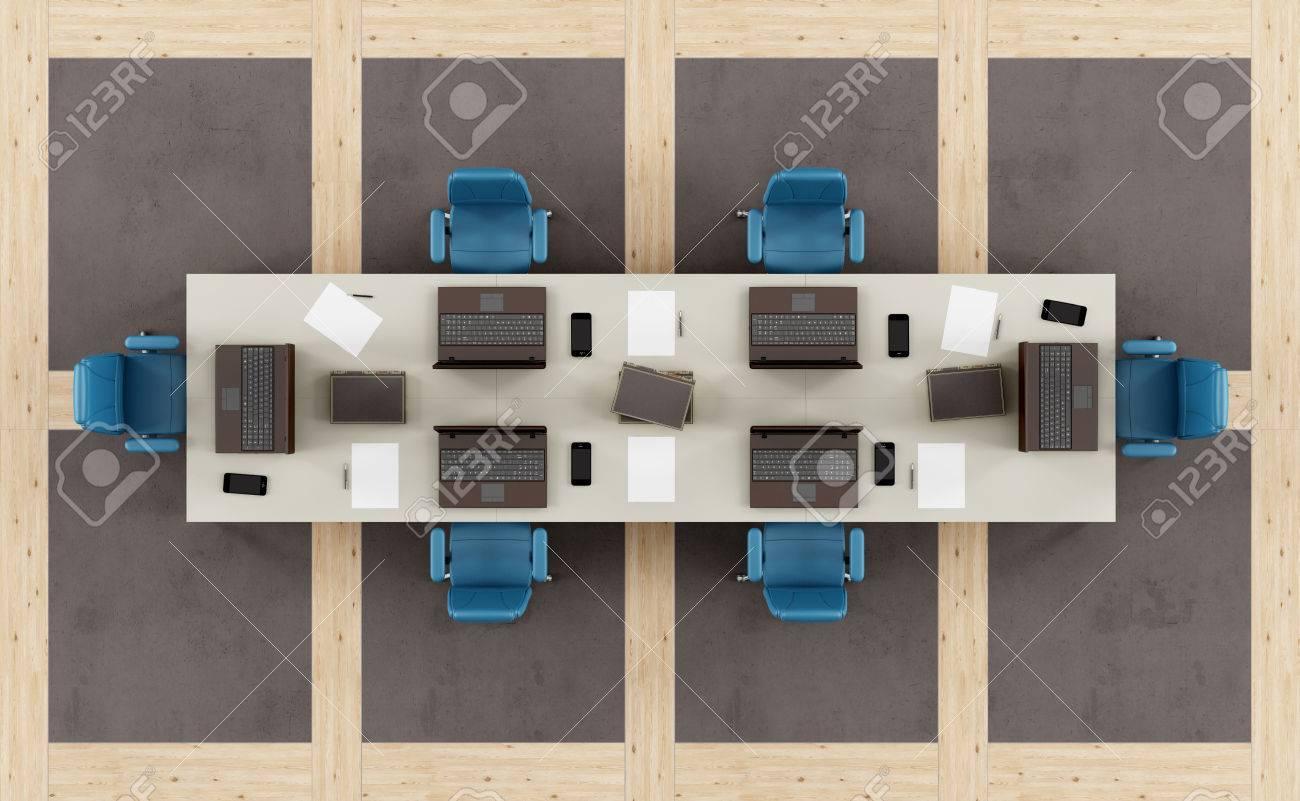 foto de archivo vista superior de una sala de juntas moderno con mesa de reunin y el suelo con paneles de hormign y madera d