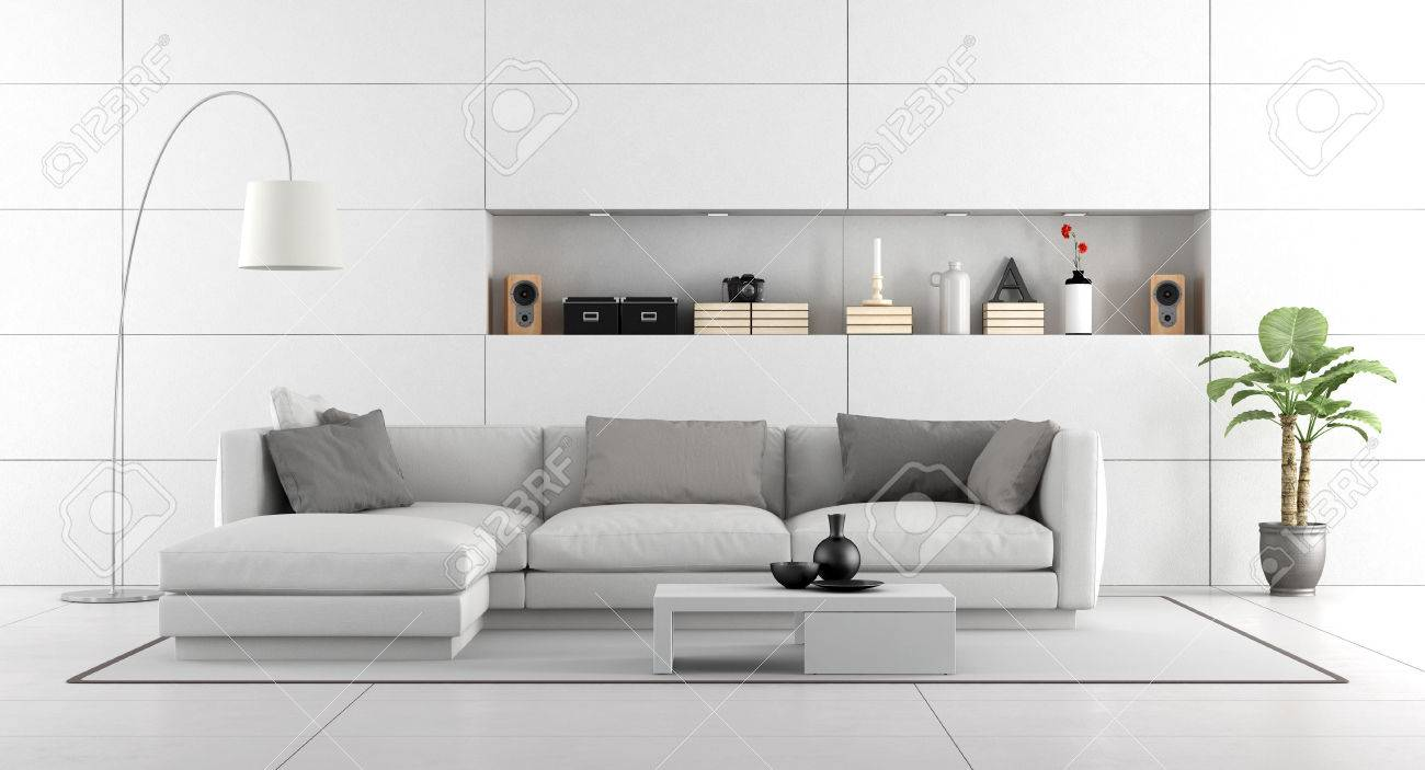 Stock Photo   White Modern Living Room With Wall Paneling And Niche   3d  Rendering