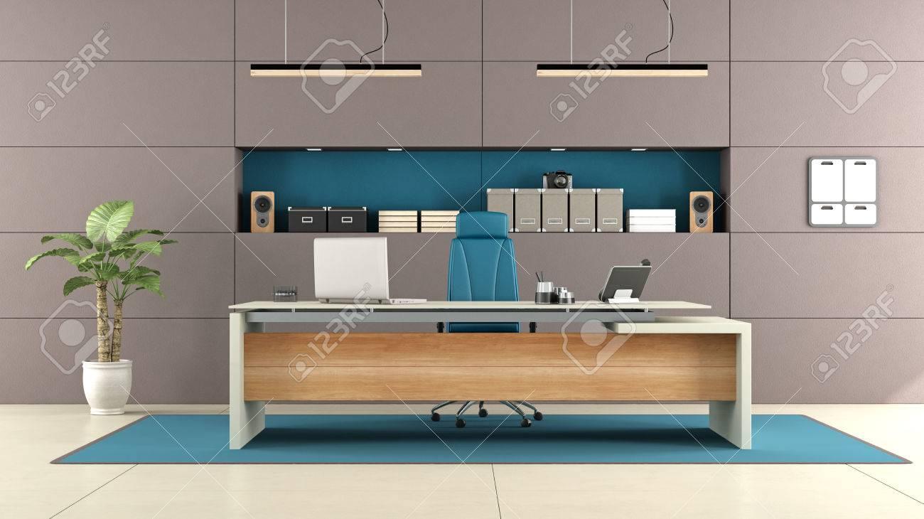 Elegantes Escritorios De Oficina Modernos.Oficina Marron Moderna Con Escritorio Elegante Y Nicho Con Objetos Representacion 3d