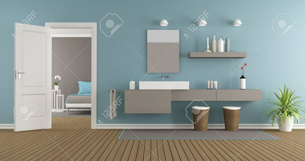 Modern Bathroom With Washbasin Of The Master Bedroom 3d Rendering