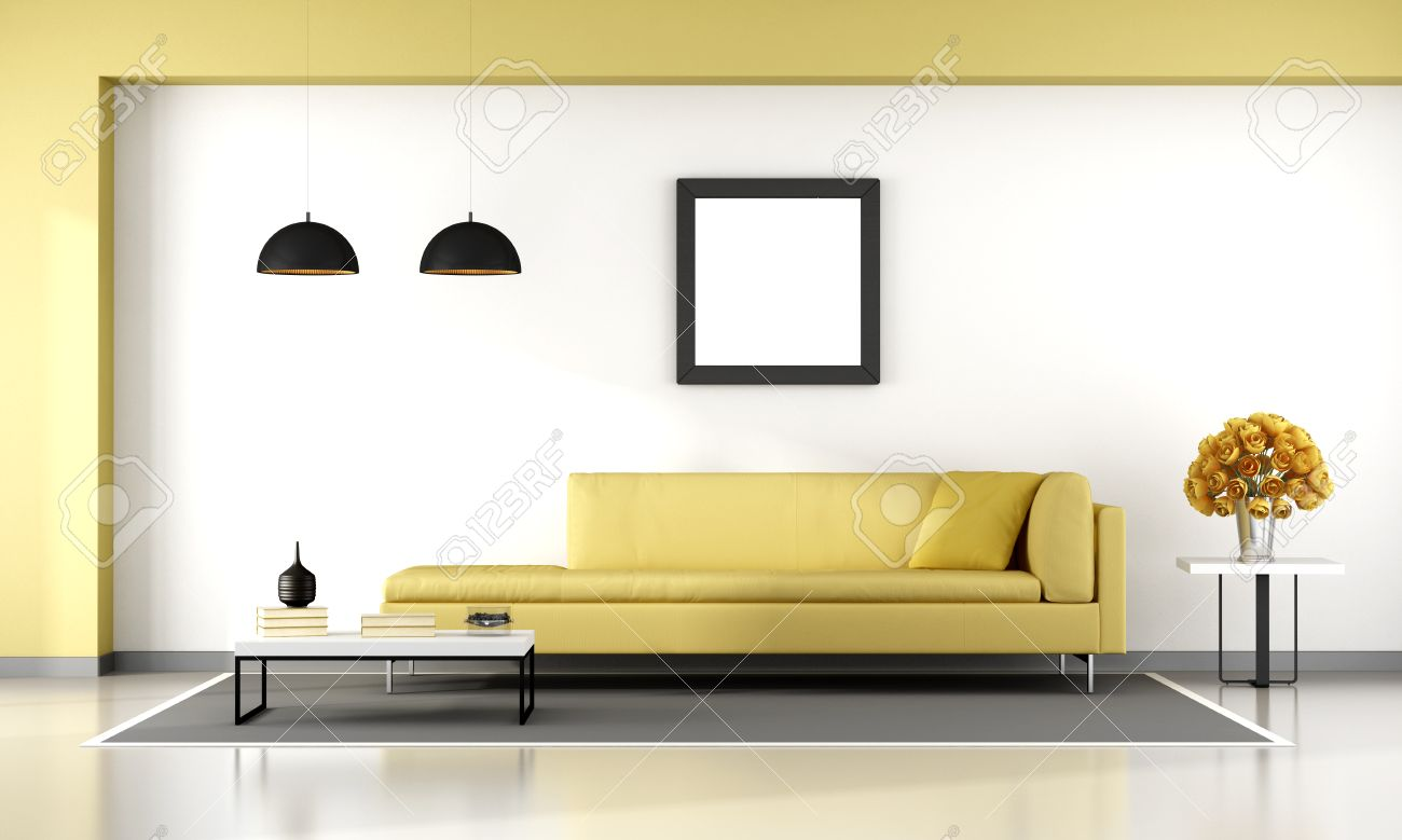 Minimalist Living Room With Yellow Couch   3d Rendering Stock Photo    58649849