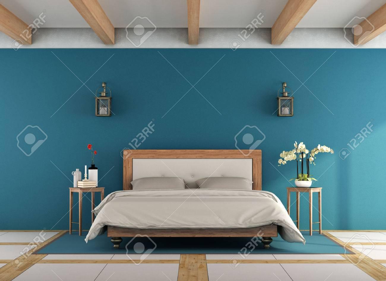 Classico blu camera da letto con retrò letto matrimoniale in legno -  rendering 3D