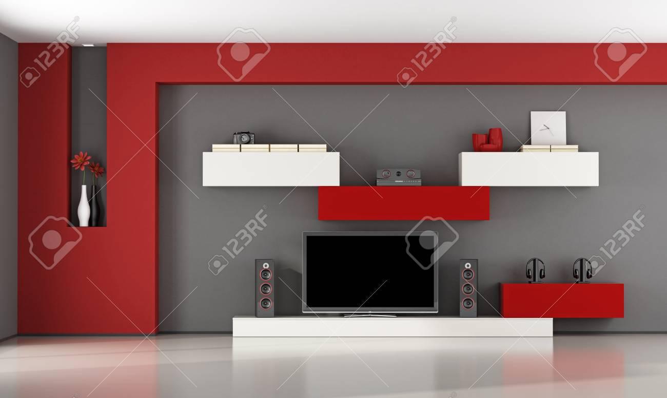 Salon rouge et gris avec unité murale et télévision - rendu 3d