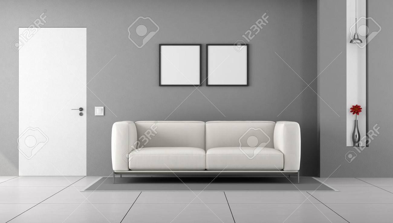 Weiß Und Grau Wohnzimmer Mit Geschlossener Tür Und Modernen Couch ...