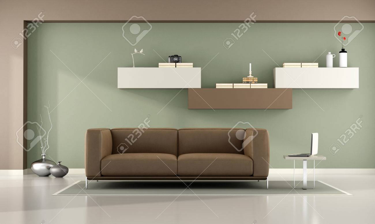 Green and brown living room with wall unit and leather sofa- 3d rendering - 59102489