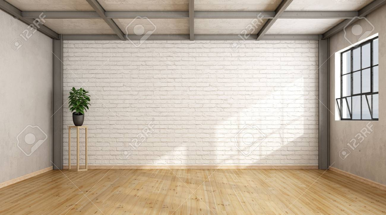Empty Contemporary Loft With Brick Wall Wooden Floor And Iron