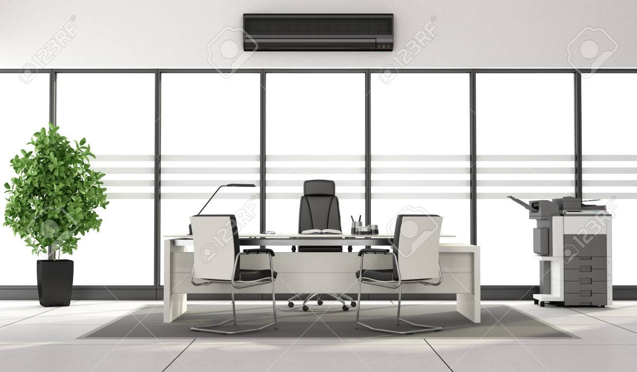 Black And White Modern Office With Desk Photocopier And Large Stock Photo Picture And Royalty Free Image Image 59667765