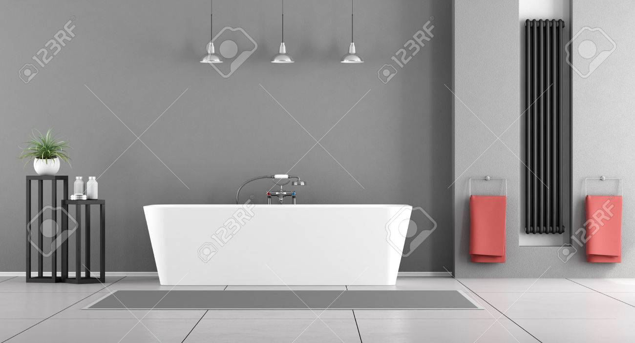 Contemporary Gray Bathroom With Minimalist Bathtub And Black