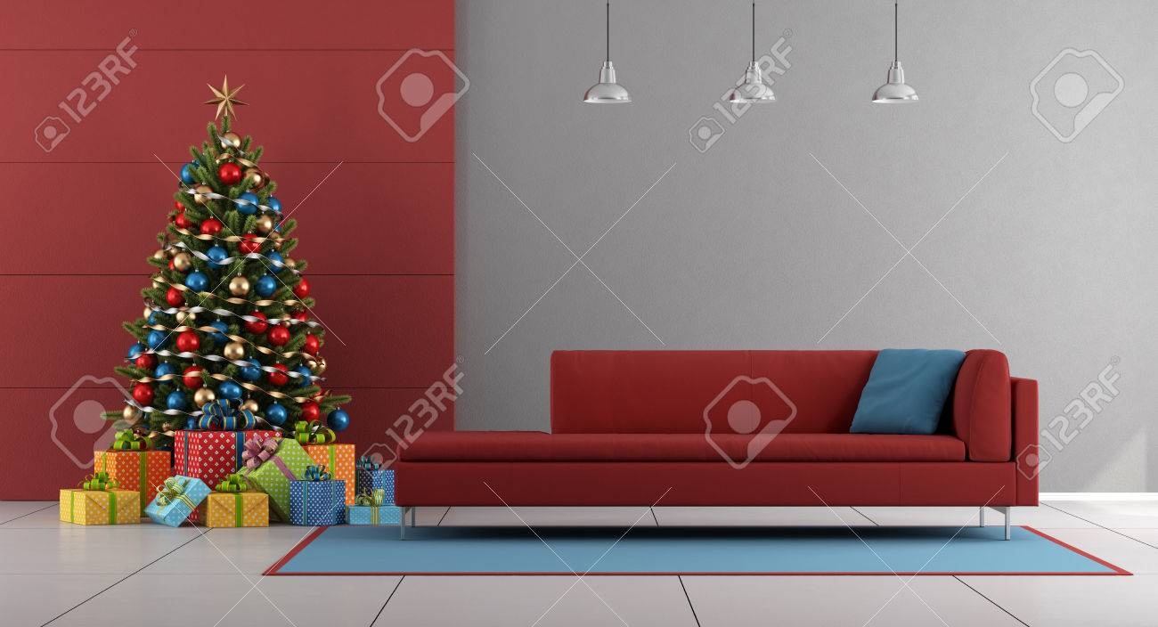 Red And Gray Living Room With Christmas Treecolorful Gift Couch