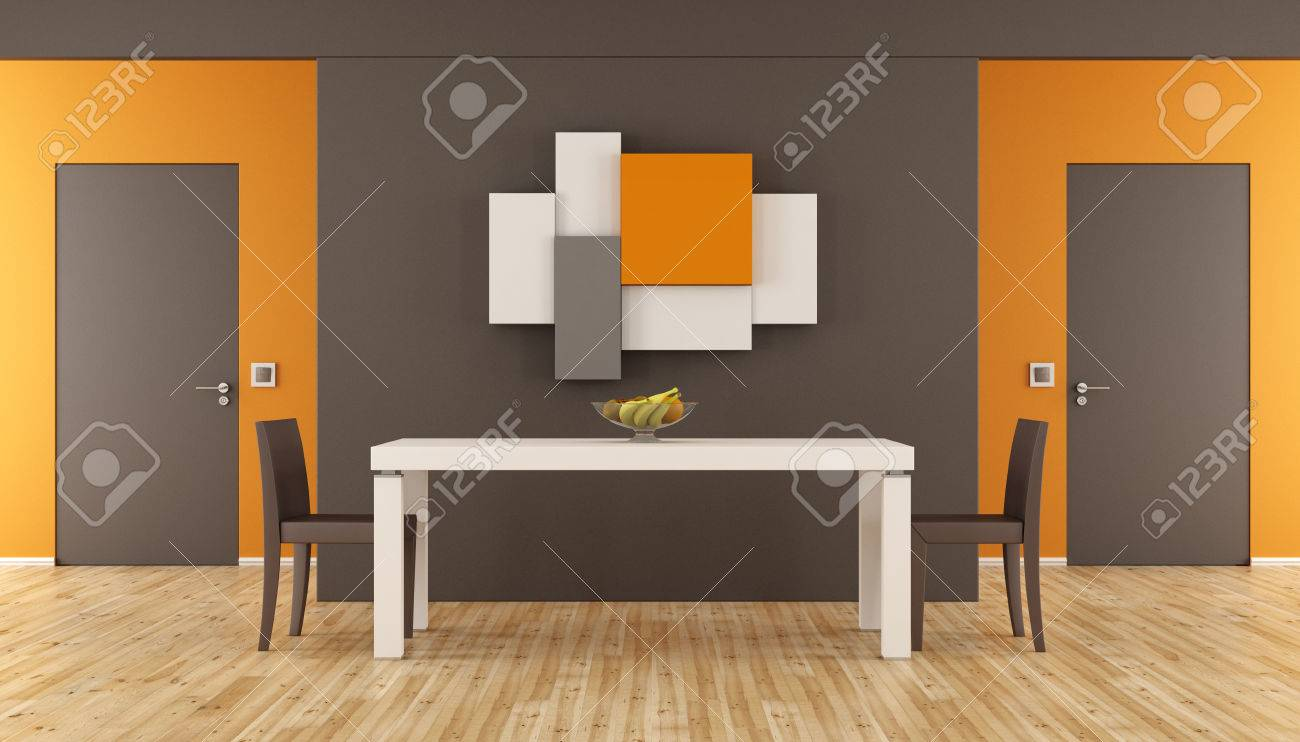 Brown And Orange Minimalist Dining Room With Tablechairs Two Closed Doors