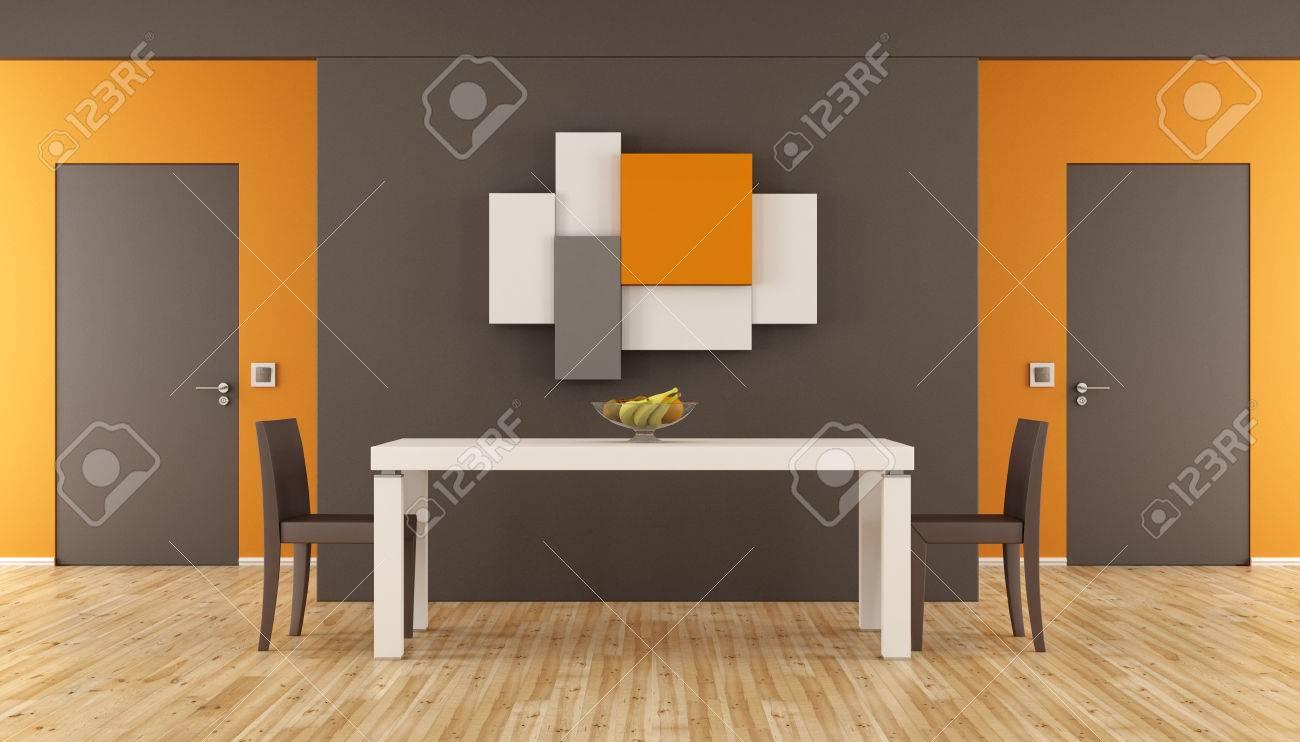 Marrón y naranja comedor minimalista con mesa, sillas y dos puertas  cerradas - Las 3D