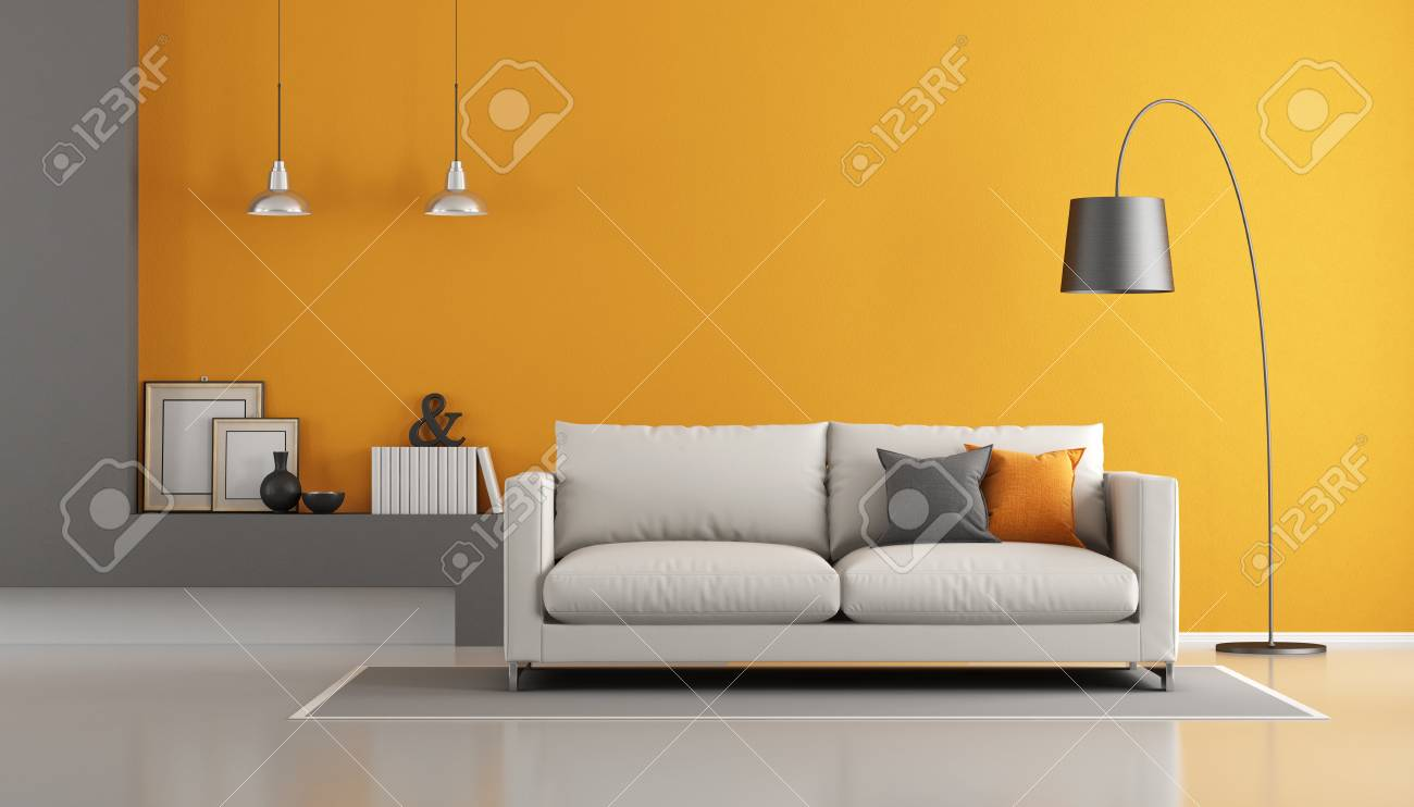 Gray And Orange Modern Living Room With Sofa - 3d Rendering Stock ...