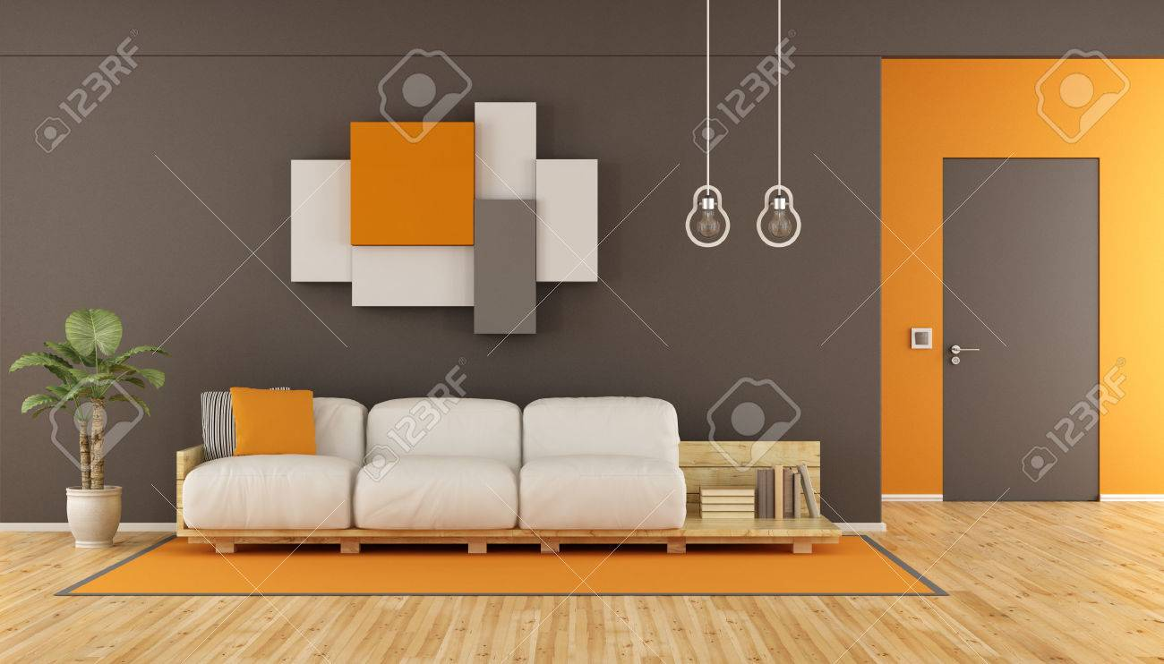 Brown and orange modern living room with pallet sofa,wall unit..