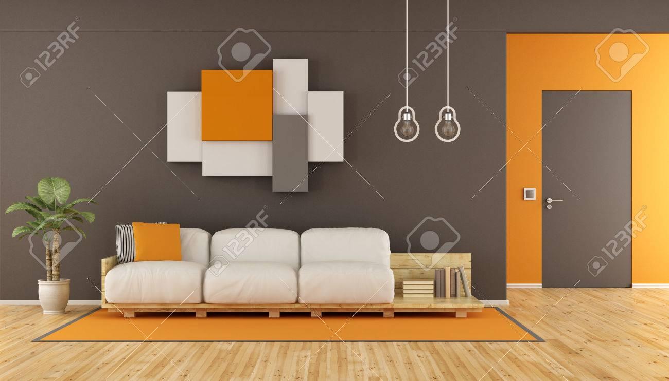 brown und orange modernes wohnzimmer mit palette sofa schrankwand