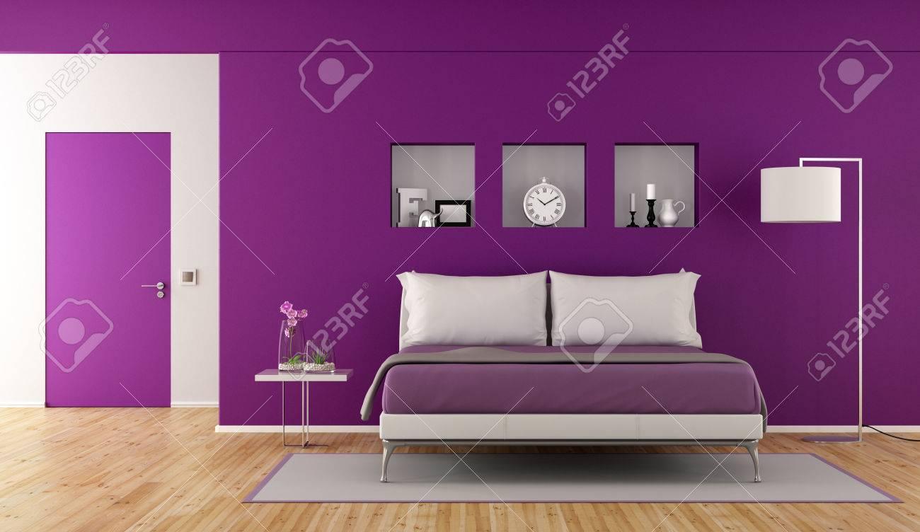 Moderne Lila Schlafzimmer Mit Doppel Schlecht, Nische Mit Dekor ...