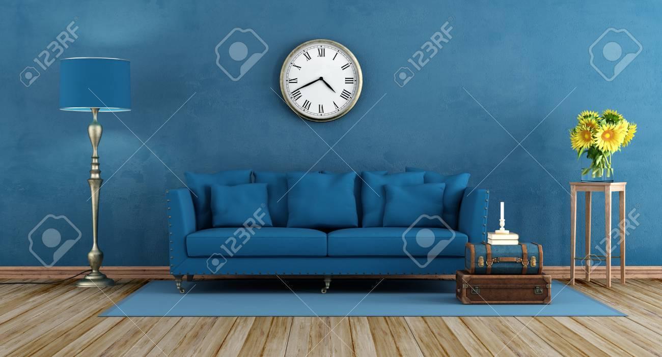 Retro Blau Wohnzimmer Mit Eleganten Sofa Lampe Und Sonnenblumen Auf