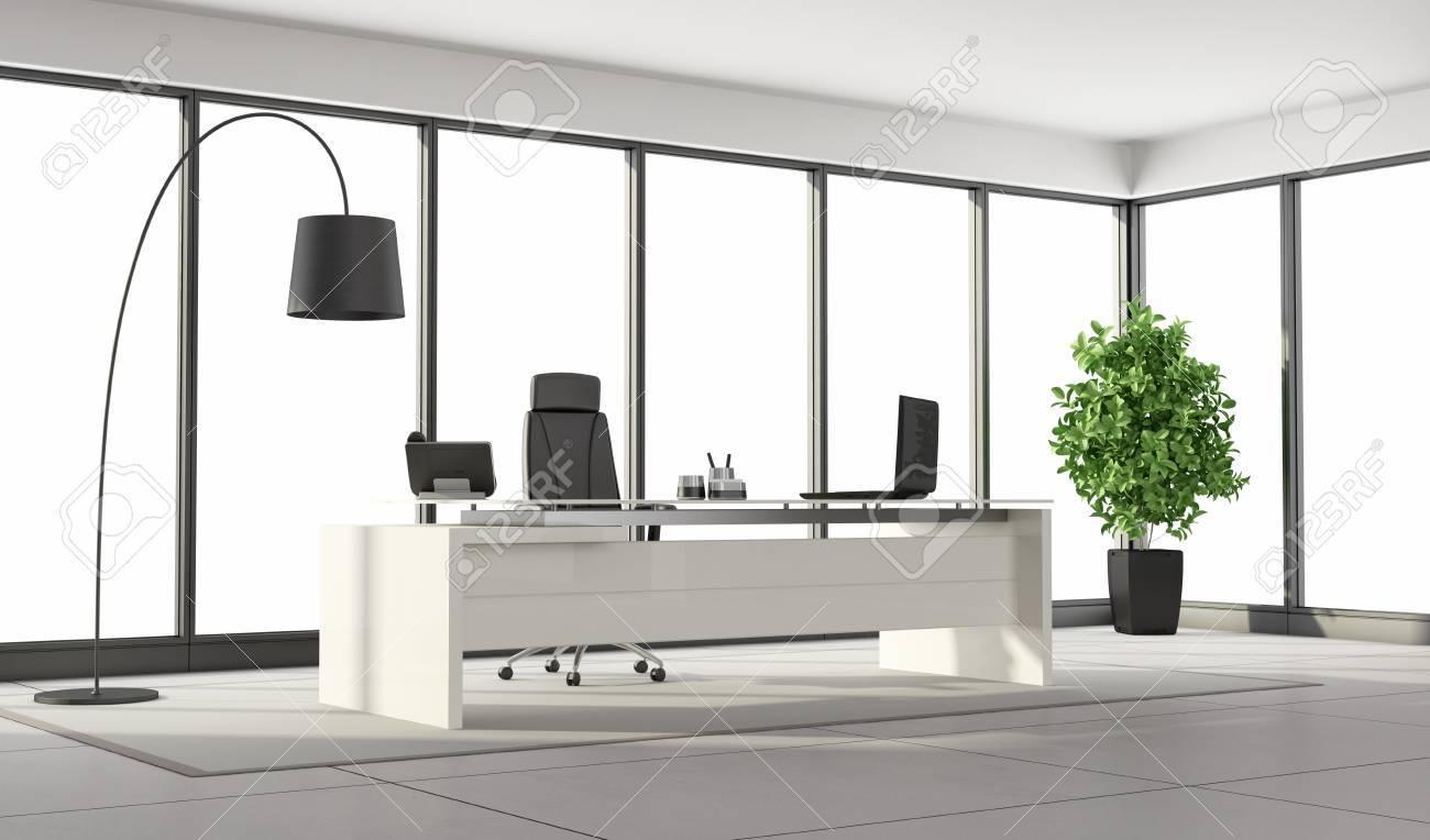 Bureau moderne noir et blanc avec bureau chaise et de grandes