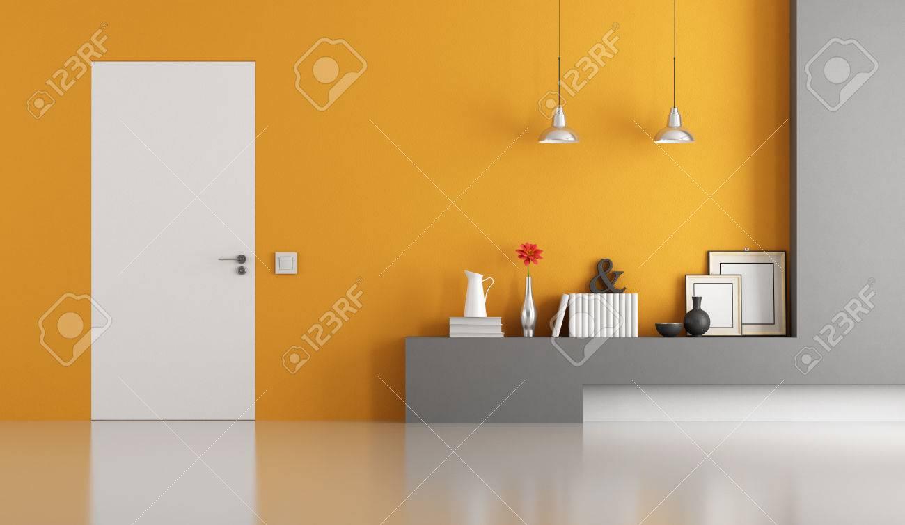 Grau Und Orange Modernes Wohnzimmer Mit Weißen Tür Schließen 3D ...