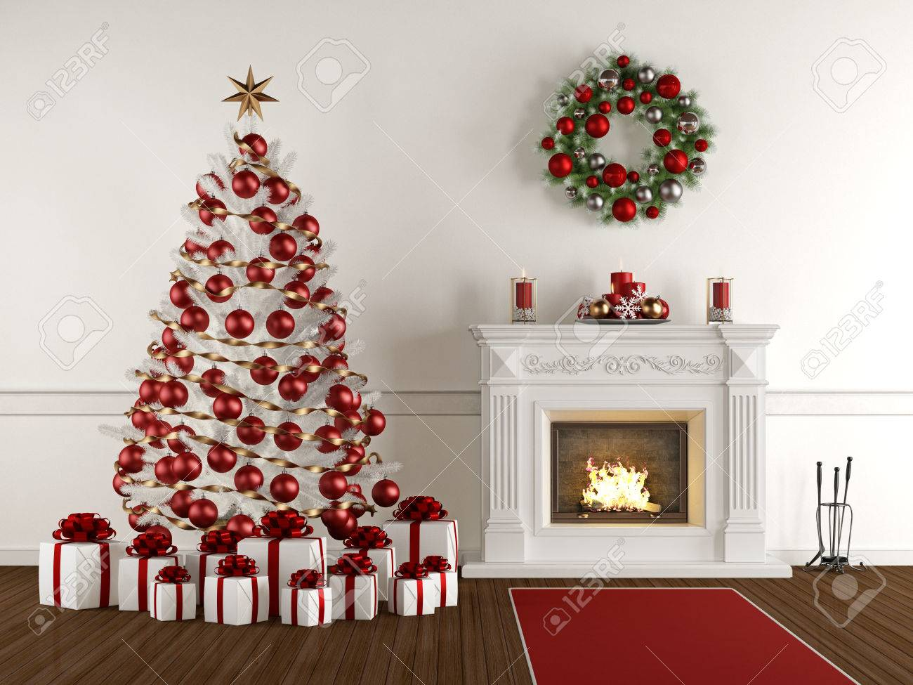 Christmas interior with classic fireplace,xmas tree,present and wreath - 3d Rendering - 63247365