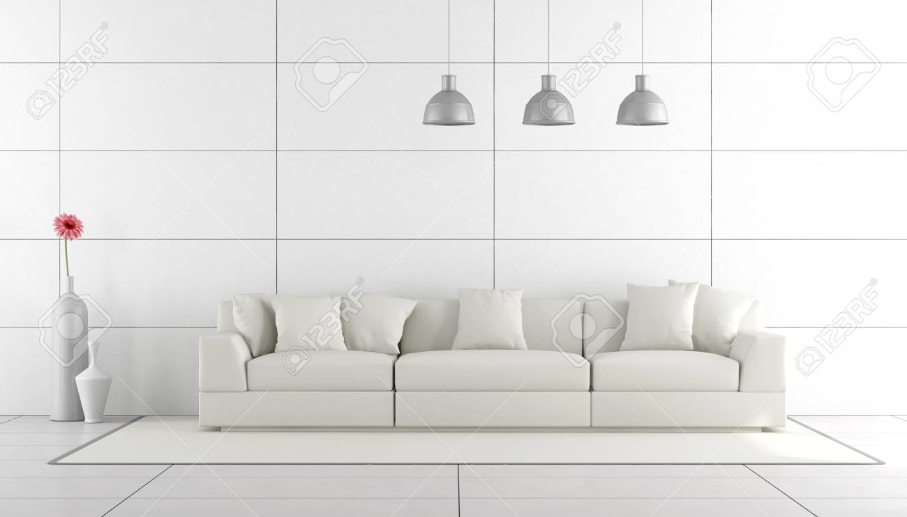 Admirable White Minimalist Living Room With Sofa 3D Rendering Unemploymentrelief Wooden Chair Designs For Living Room Unemploymentrelieforg