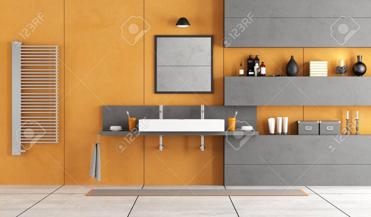 Orange And Gray Modern Bathroom With Washbasin Niche And Washbasin