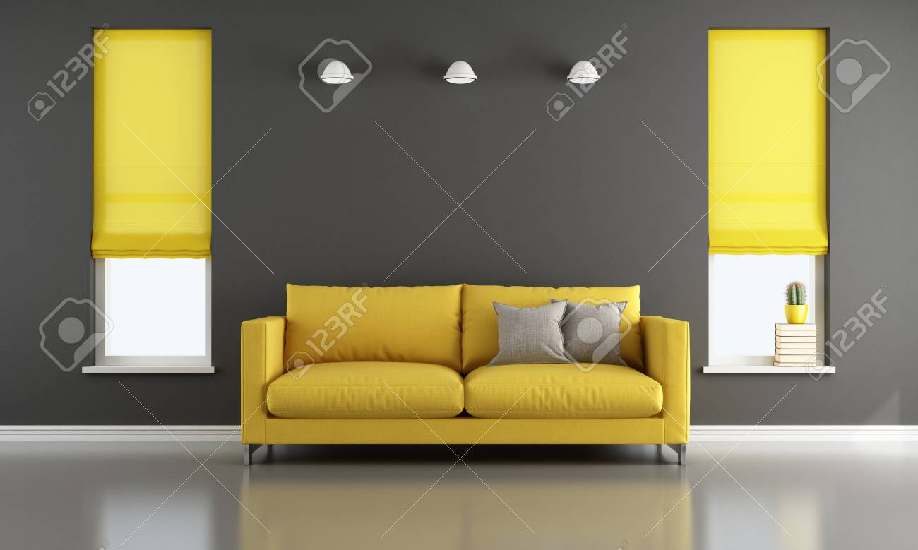 Black And Yellow Living Room With Modern Sofa And Two Windows Stock Photo Picture And Royalty Free Image Image 63247345
