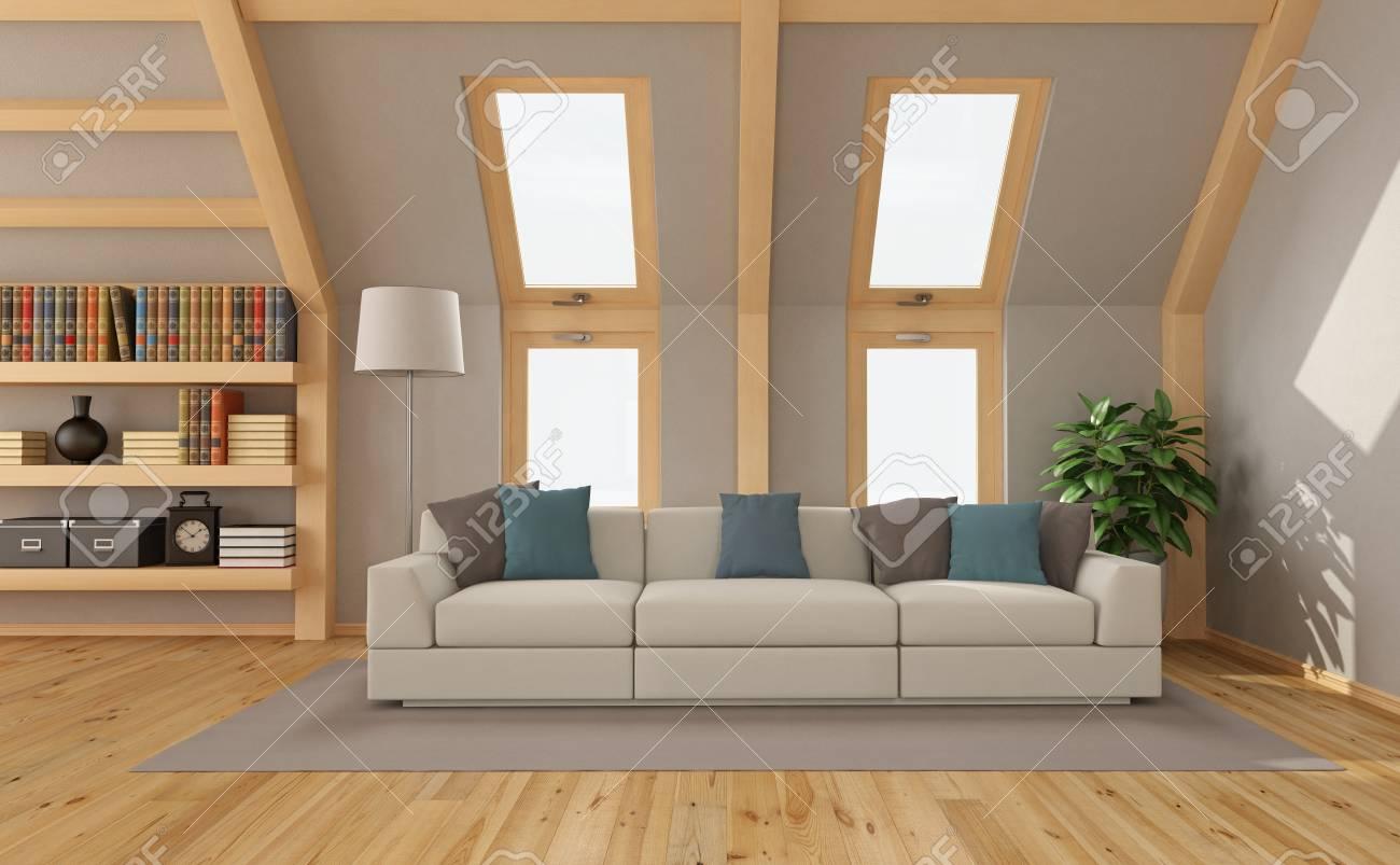 Salon Moderne Dans Le Grenier Avec Canape Contemporain Et Windows Rendu 3d