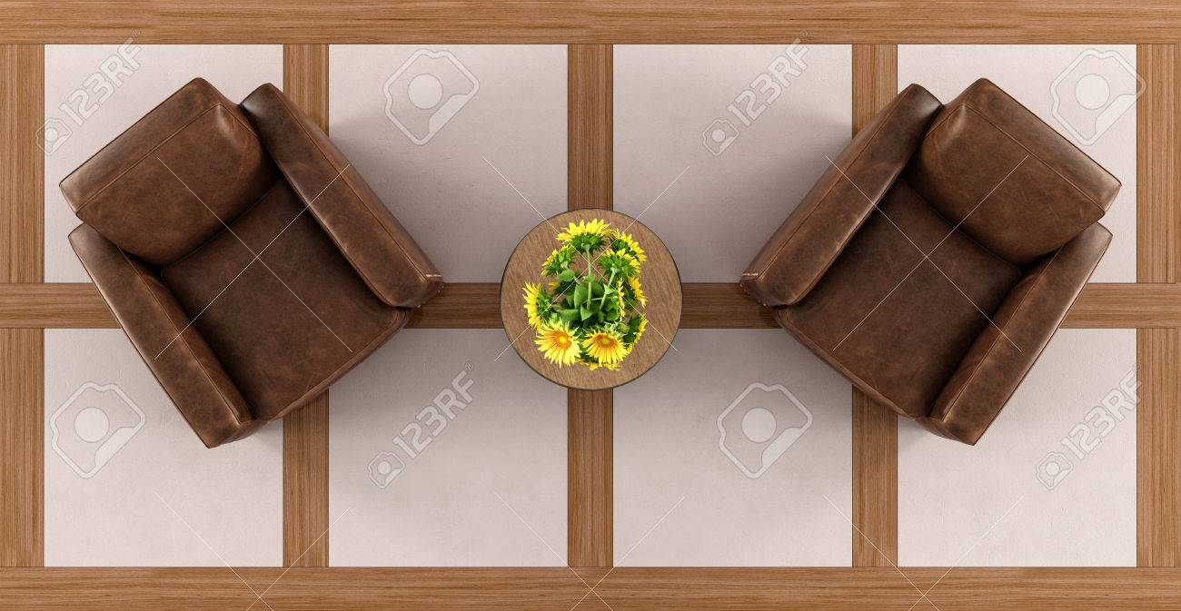 Stock Photo   Top View Of A Vintage Living Room With Two Armchairs Coffee  Table And Sunflower   3d Rendering