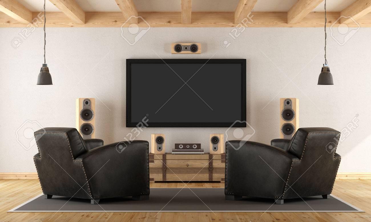 Vintage room with contemporary home cinema system - 3d rendering Standard-Bild - 63247380