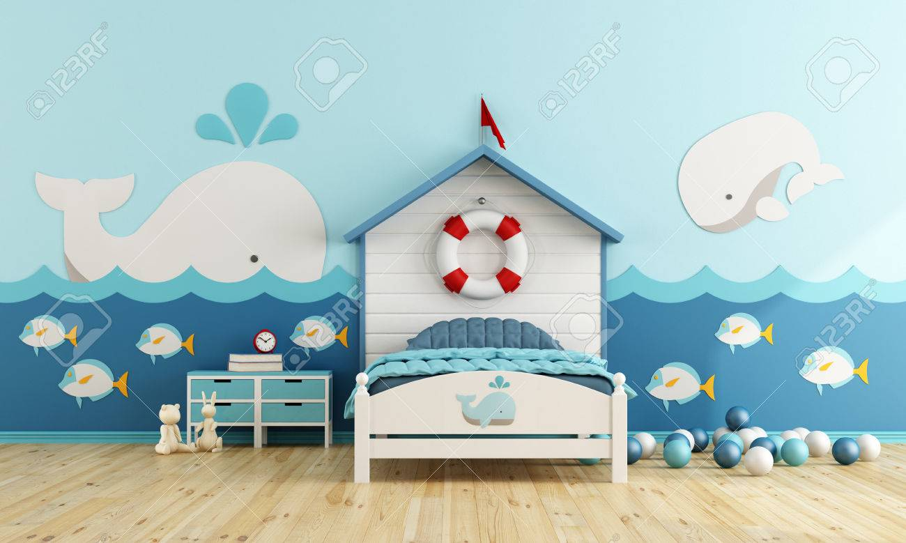 Kids room in marine style with toys - 3d rendering - 65099999